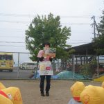 紙芝居を使用して、災害の対処方法を学びました。
