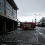 園バスが火事という想定で消防車が出動しました。
