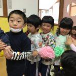 3月生まれのお友だちをお花の列車で迎えにいきました。