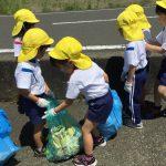 きりん組は、大浦小学校周辺と海岸沿いのごみを拾いました。