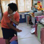 地震により火事が発生したとの放送を聞き、保育教諭が119番通報をしました。