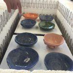 7月の陶芸体験で作ったお皿が焼きあがり、きれいに色がつき子どもたちは大喜びでした。