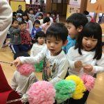 1月生まれのお友だちをお花の列車で迎えに行きました。