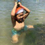 暑かったので、海水が気持ちよく大喜びでした。