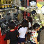 消防士さんにいろいろと教えていただき、よい学びの場となりました。